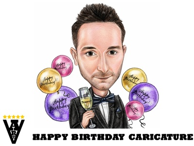 Draw a Happy Birthday caricature in colored pencils