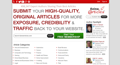 Write and Publish a Top Quality Guest Post on Ezine DA-87