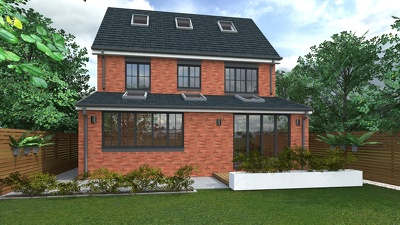 Make a 3d model of your single-storey house extension