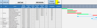 create a project planning system in excel