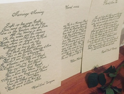 Write your romantic prose in calligraphy with free delivery