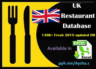 Provide UK restaurant database 130K+ in excel format 40k+ emails