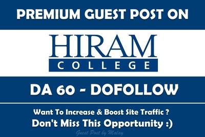 Guest post on Hiram College. Hiram.edu - DA 60