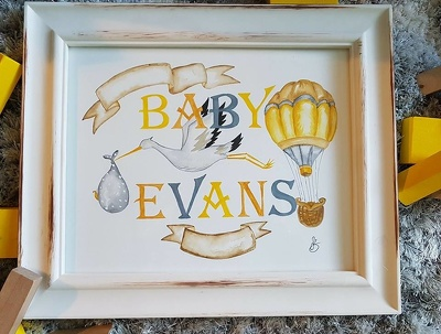 Paint a personalised nursery baby name watercolour