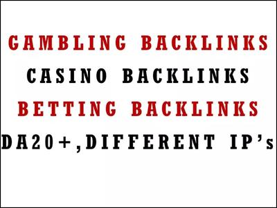 40 Backlinks For Gambling Casino Betting Website Link