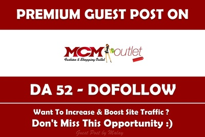 Publish Guest post on MCM Outlet. mcmoutlet.us - DA 52