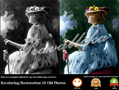 Recoloring and restoration of old photos.