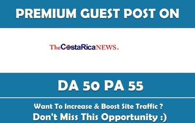 Write & Publish Guest Post on thecostaricanews.com - DA 50