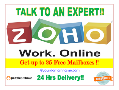 Setup free zoho mail,email with domain in 24hrs