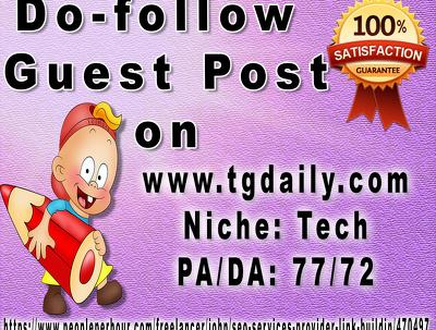 High Quality Do-follow Guest Post On Tech Niche