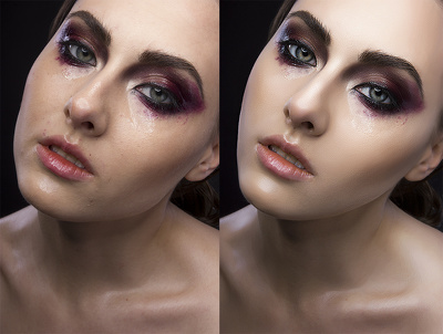 Do standard photo editing, retouching. No blurred skin