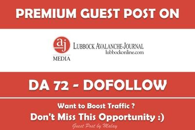 Publish Guest Post on LubbockOnline.com - DA 72, PA76