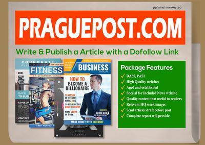 I Will do Guest Post PraguePost with Dofollow Link, DA65, PA51