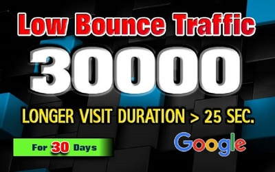 Drive 30000 LOW BOUNCE keyword target website traffic for 30 day