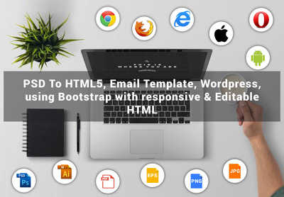 PSD To Responsive HTML5 Email template Wordpress using Bootstrap