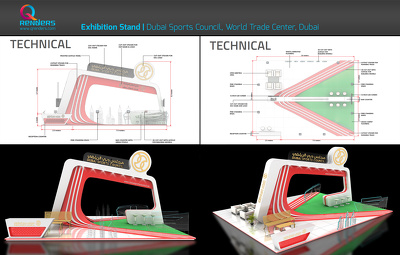 Design a realistic exhibition booth and product stand