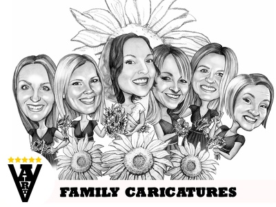 Draw beautiful family portrait, caricature from photos