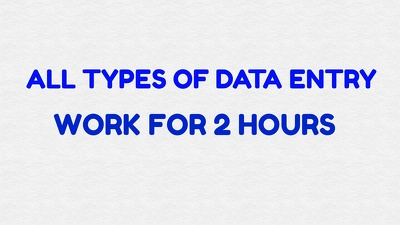 All type of Data Entry for 2Hours