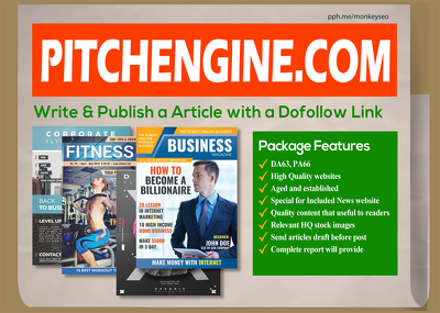 Publish Guest Post on PitchEngine, Dofollow Link, DA63, PA66