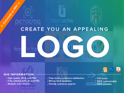 Design you a logo with unlimited revisions