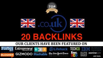 Create 20 Co Uk Links : Local SEO .co.uk links high PR UK Local