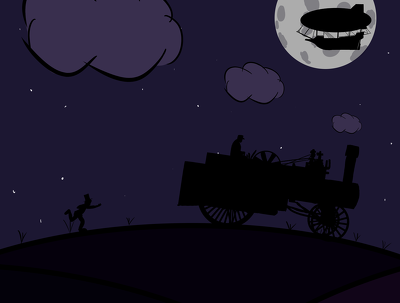 Draw a silhouette scene in photoshop