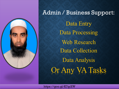 Provide 2 hours of data entry, web research or VA tasks