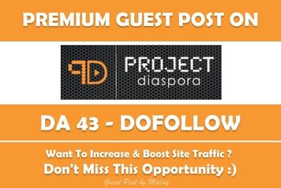 Publish Guest Post on Projectdiaspora.org - DA 43