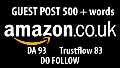 Do Follow backling  / guest post on Amazon Amazon.co.uk (DA93)