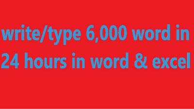 Write/type 6,000 word in 24 hours in word & excel