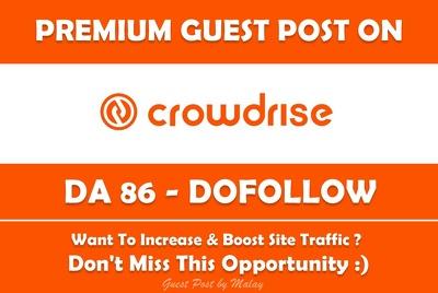 Publish guest post on Crowd Rise. Crowdrise.com - DA 86