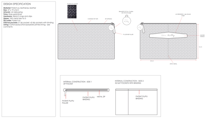 Create a design and tech pack for a mens/ladies wallet or purse