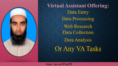 Offer 1 hour of web research, data entry, any VA tasks