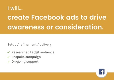 Create Facebook ads to drive awareness of your brand