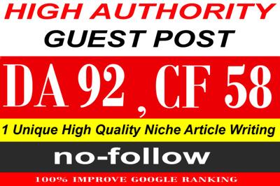 Publish a guest post on Quora. Com PA91, CF58, DA92
