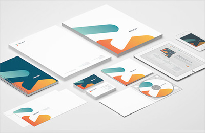 Design complete stationery- card, letterhead, envelope, postcard