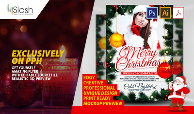 Create Eye Catching and Unique Christmas Themed party flyer