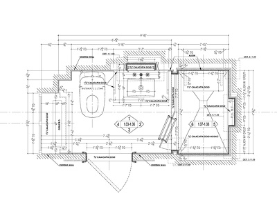 Provide shop drawings for 80 sq. ft. stone finished bathroom.