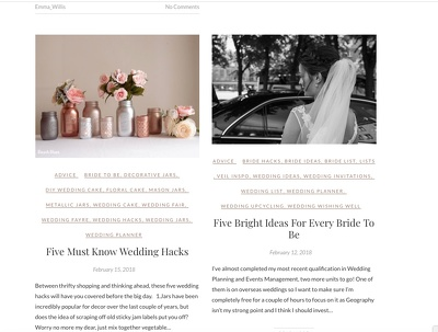 Deliver two blog posts on any wedding based topic.