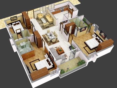 Render Iso-metric floor plans