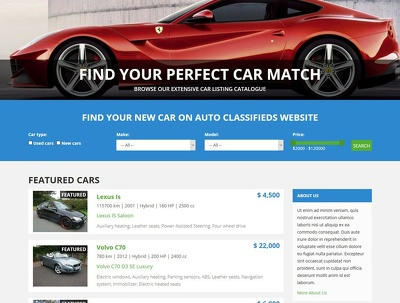 Design a cars dealership website in wordpress
