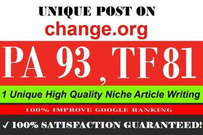 Publish a Guest post on Change. org DA 93 PA 92 Mozrank 7