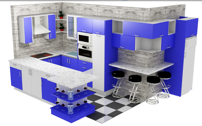 Create a professional kitchen design with revisions from scratch
