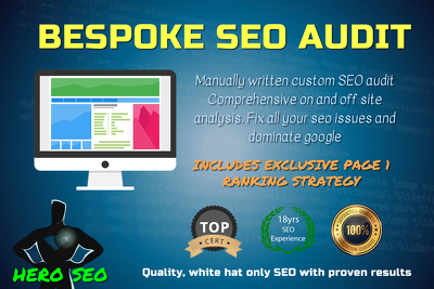 SEO AUDIT for page 1 Google Ranking -  Bespoke SEO Analysis