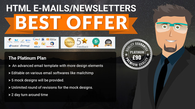 Design a custom HTML newsletter or Email template - PLATINUM