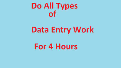 Do all types of data entry work for 4 hour