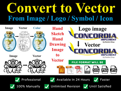Convert vector form any image / logo / symbol / icon in 1 day