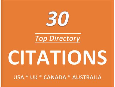Provide 30 directory citations for usa, uk, canada local seo