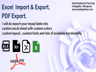 Export custom excel sheet and pdf in codeigniter