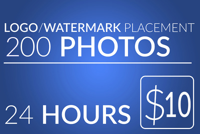 Add logo or watermark on 200 photos within 24 hours for $10
